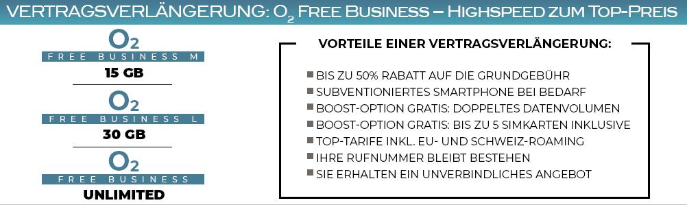 Online Vertragsverlängerung für o2 Geschäftskunden-Tarife, wie Free Business L oder M, Free L Boost, Free Business Unlimited