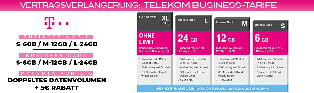 Vertragsverlängerungen Geschäftskunden Business Telekom Business Mobil